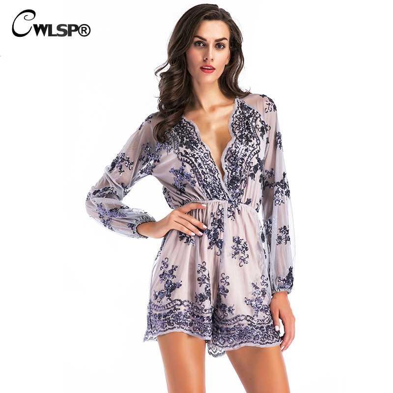 e243d4957ce CWLSP Fashion Sexy Women Playsuit Sequins See through Long Lace Sleeve Deep  V Neck Short jumpsuit