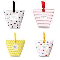 20pcs Lot Square Bottom Gift Packs Dots Stripes Lattice Mini Candy Box Birthday Gift Box Christmas