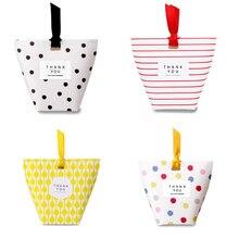 Купить с кэшбэком 20pcs/lot Square Bottom Gift Packs,  Dots Stripes Lattice mini Candy Box, Birthday gift box, Christmas gift box Free shipping