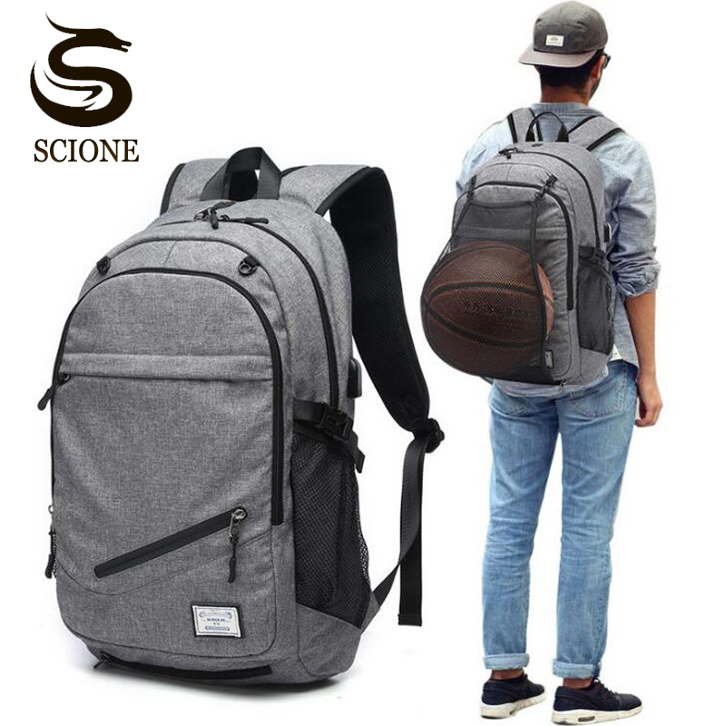 Male Laptop Backpack Canvas Men Usb Backpack School Bags For Teenager Ball Bag Pack Multifunction Travel Rucksack Mochilas Mujer