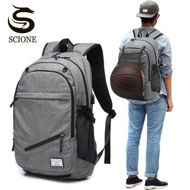 Detail Feedback Questions about Male Laptop Backpack Canvas Men USB Backpack  School Bags for Teenager Ball Bag Pack Multifunction Travel Rucksack  mochilas ... eb2f656355120