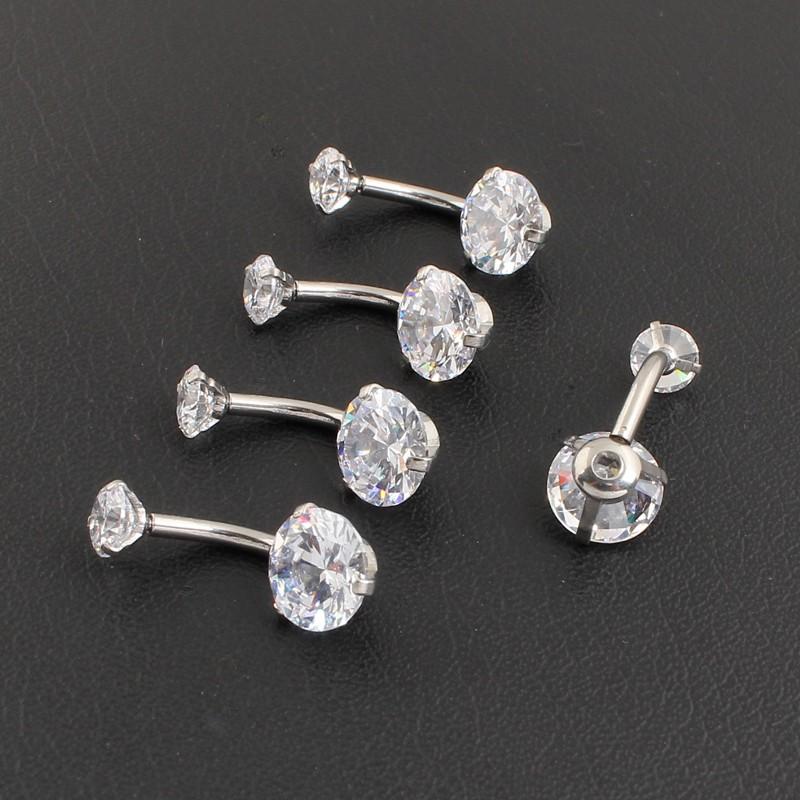 HTB1sOQjOFXXXXXIXpXXq6xXFXXXn Pretty Zircon Jewel Prong Style Belly Button Ring - 2 Colors