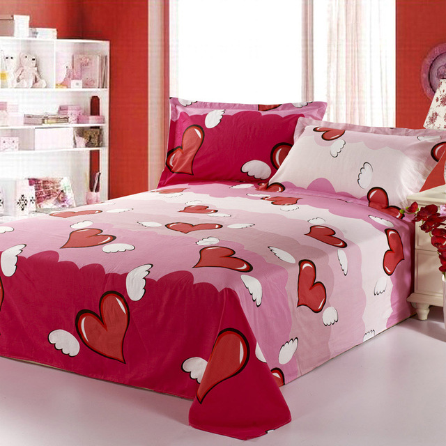 decorUhome 1 pc 100% Cotton Bed Sheets Home Textile Bedding Coverlet Flat Sheet Flower Heart  Bed Sheet Soft Warm Bedsheets