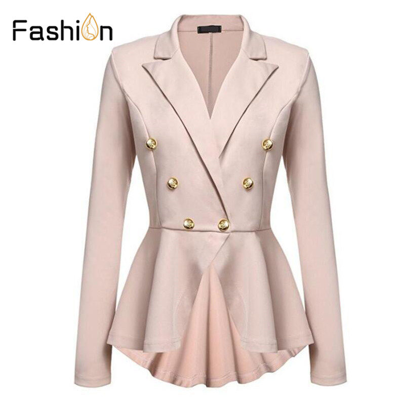 Fashion Slim Fit Women Blazer Jackets Womens White Ladies Blazer Office Lady Jacket Elegant Female Solid Button Plus Size