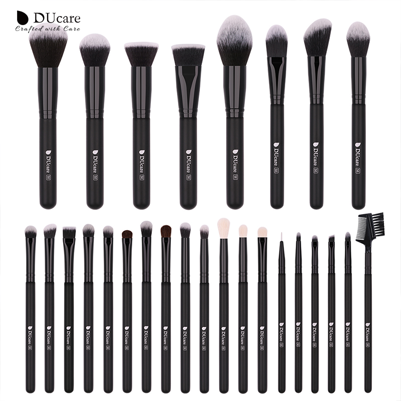 DUcare 27PCS Makeup Brushes Set Foundation Eyeshadow Powder Brush Professional Goat Hair Brushes for Makeup Cosmetic Tools Kit fashion 10pcs professional makeup powder foundation blush eyeshadow brushes sponge puff 15 color cosmetic concealer palette
