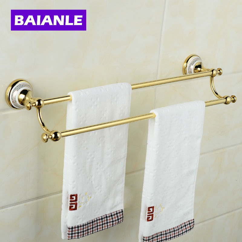 Creative Wall Mounted Double Towel Bars Brass & Ceramics Bathroom Bath Towel Rods creative sleeveless dress bath beach towel deep pink