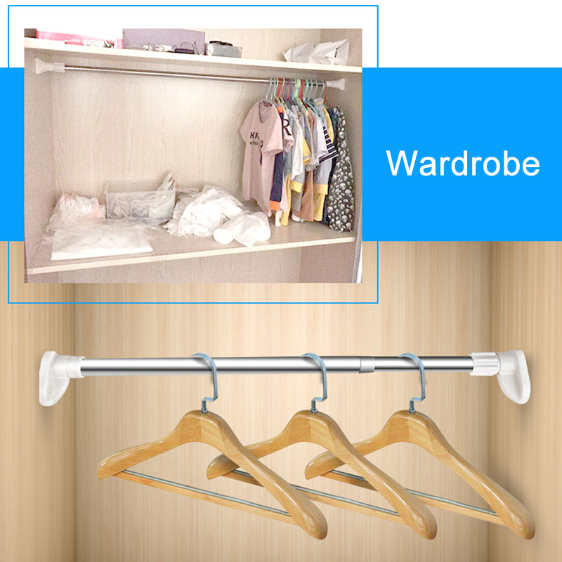 Extendable Telescopic Shower Curtain Rail Pole Rod Bath Window Curtain Clothes Rod J2Y ...