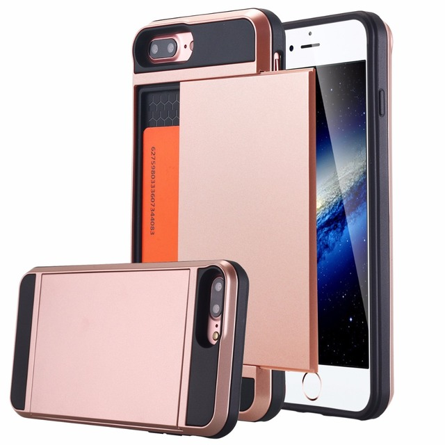 various colors 280e3 32d18 US $4.99 |For iPhone 7/7 Case, Sliding Card Holder iPhone 7 Hidden Wallet  Case Secret ID Slot Dual Layer Hybrid Shock Absorbing Case Cover-in Phone  ...