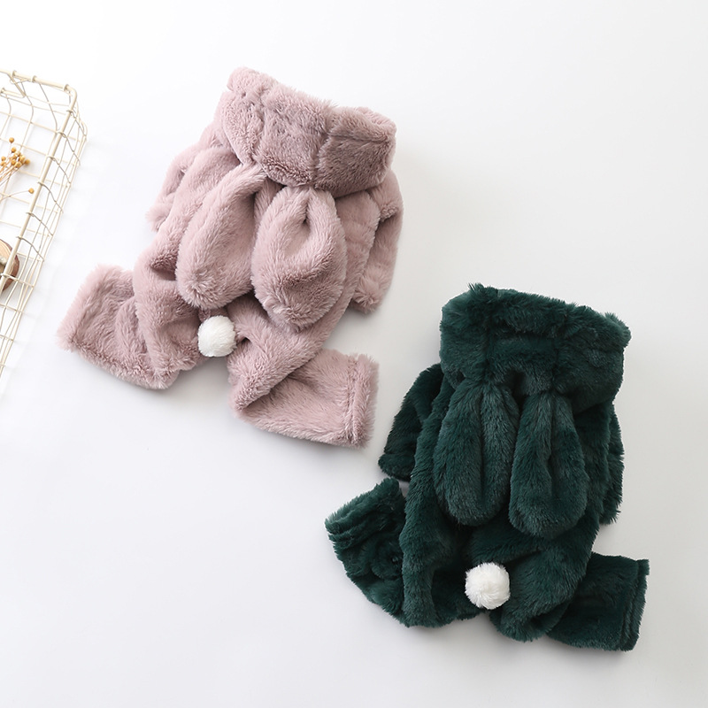 Warm Pet Dog Clothes Soft Flannel Dog Coat Jacket Big Rabbit Ear Puppy Dogs Costume Chihuahua Pet Clothes For Dogs Pet Overalls