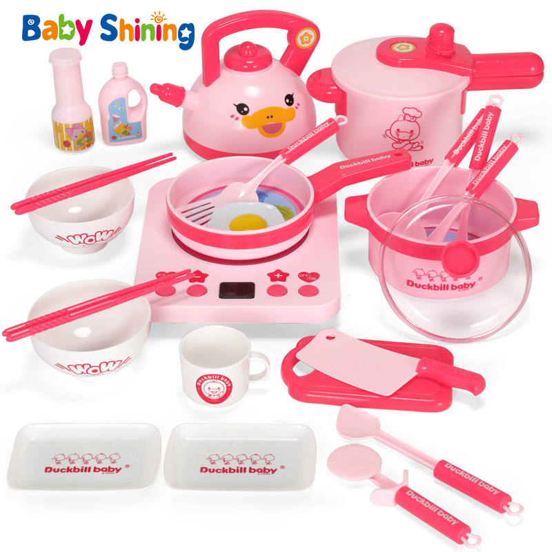 Baby Shining Kids Kitchen Toys 13/18/25PCs Pink Cooking Playsets Rich Kitchenwares Miniature Food Toys Kitchen for Girls