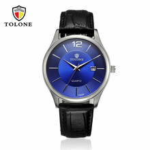 2017 Leather Stainless Steel  Analog Quartz Military Watch  Hot Luxury Men's Date Watch  TOLONE  dignity 8.4
