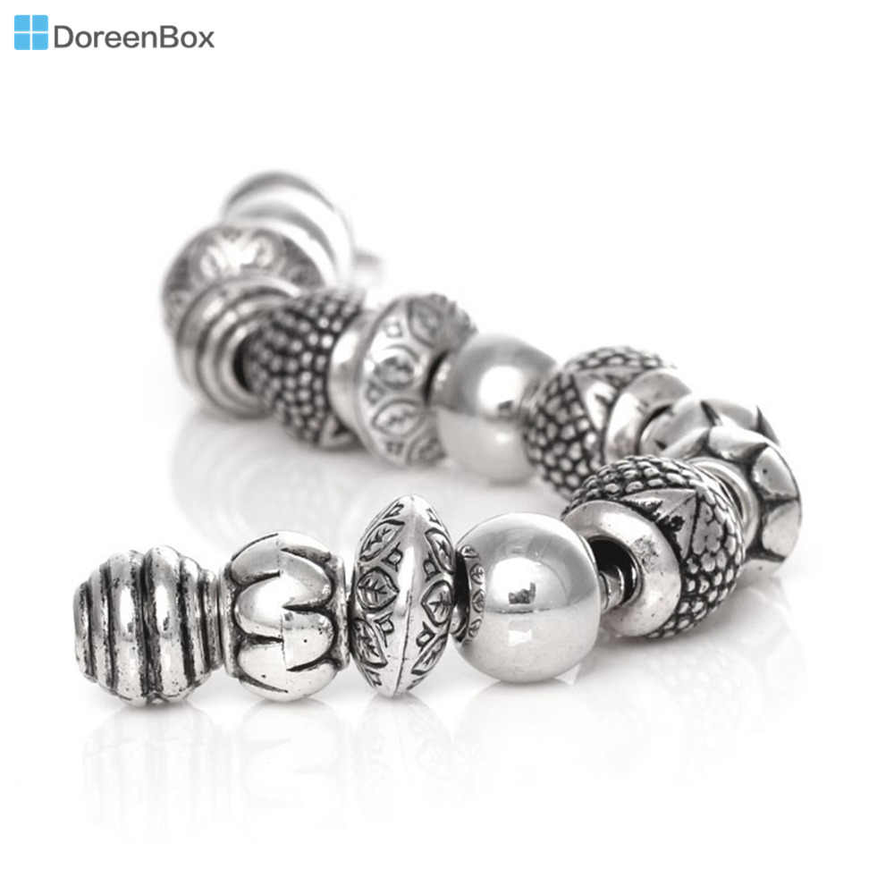 Doreen Box 50PCs Mixed Antique Silver Color Acrylic Beads Spacers Beads Fit European Charm Jewelry Accessories DIY Findings