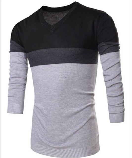 Moda 2017 Marca Tarja Com Decote Em V casaco Camisola dos homens da Marca dos homens Novos Camisola de Algodão Pullover Frete Grátis