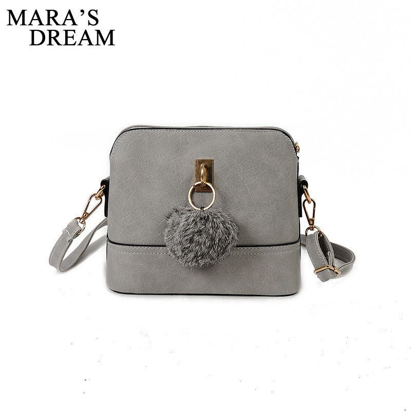 Mara's Dream Women Shoulder Bags Fashion Bag With Plush Ball Shell Women Small Messenger Crossbody Bag Ladies Zipper HandBags women shoulder bags leather handbags shell crossbody bag brand design small single messenger bolsa tote sweet fashion style