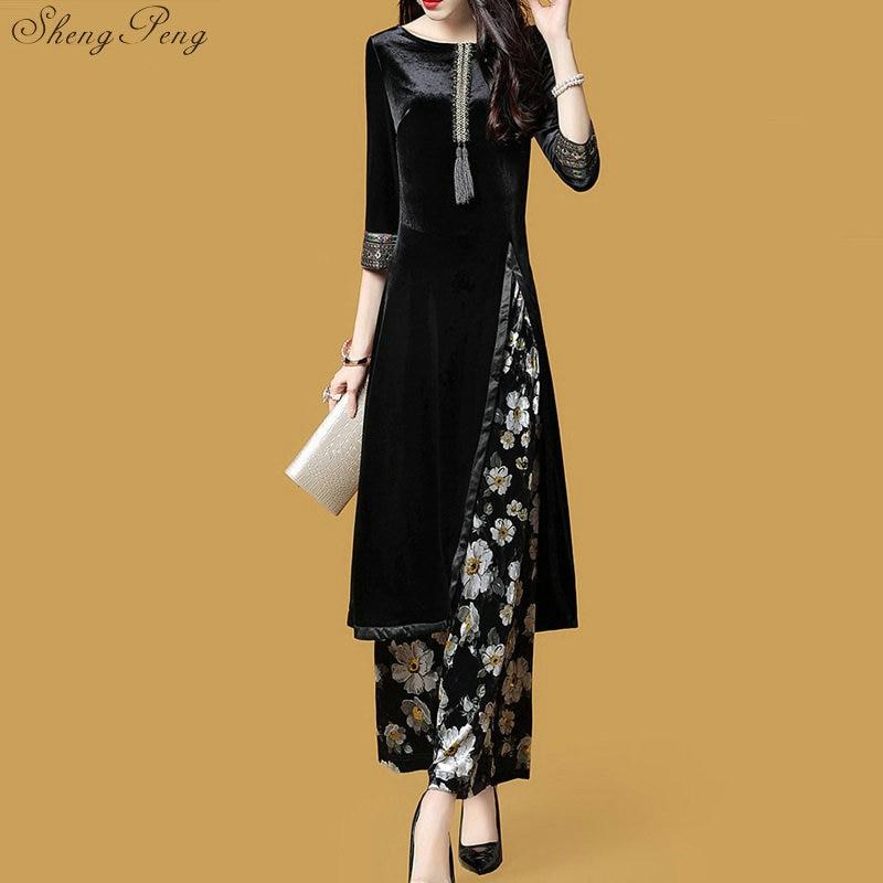 À Q387 Vêtements Qipao Manches Nouveau 1 De Oriental Chinois Floral Femmes Style Longues Pour Dentelle Dai Cheongsam Dames Robe 2018 Ao xznw4CqHC