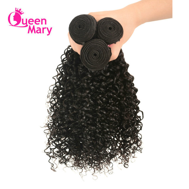 Peruvian Kinky Curly Human Hair Weave Bundles One Piece Afro Hair Extensions Natural Color Queen Mary Non-Remy Hair Weaving