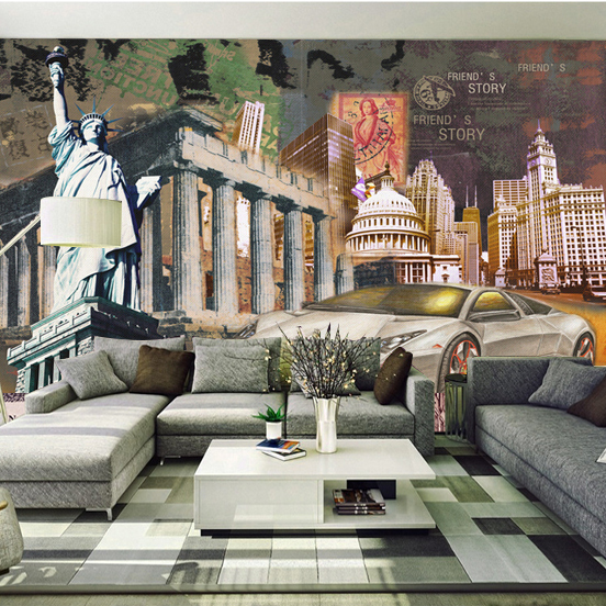 Custom 3D Photo Mural Style European Personality Retro Building Bar Cafe Lounge Living Room