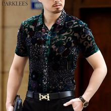 Luxury Floral Embroidery Lace Shirt Men 2019 New Sexy Transparent Mens Dress Shirts See Through Party Clubwear Male Social Shirt