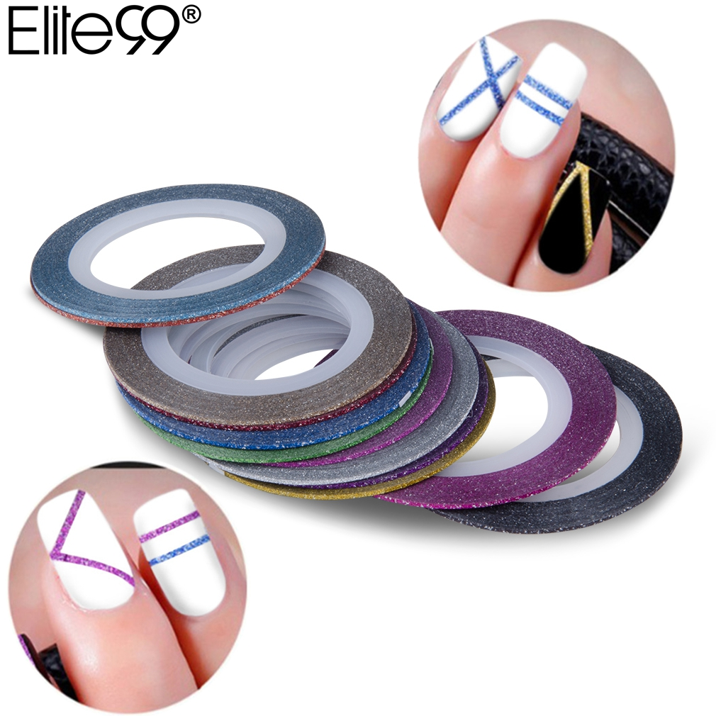 Elite99 12Rolls 1mm Multicolor Mixed Colors Rolls Matte Glitter Striping Tape Line Nail Art Decoration Sticker DIY Nail Tips 10pc set mixed colors nail rolls striping tape line diy nail art tips decoration sticker nails care for nail polish makeup tools