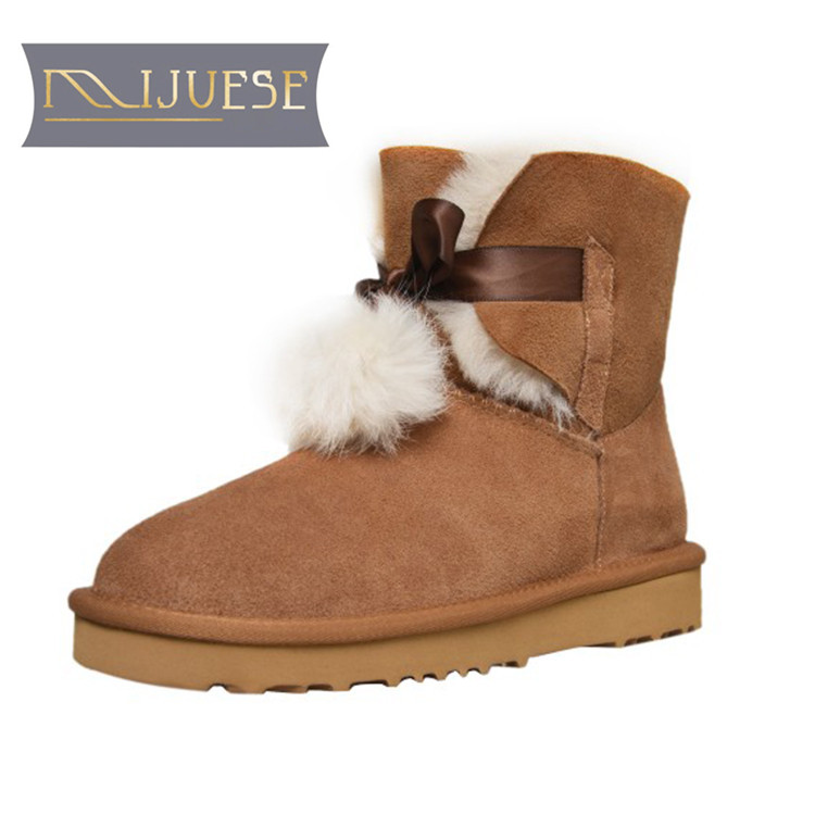 MLJUESE 2019 women snow boots Fur Shearling Gray color Rome style winter warm Wool Blend flats boots women ankle boots size 43 lapel flap pocket color block wool blend blazer