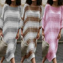 2019 Women Cotton Linen Maxi Dress Long Sleeve Casual Boho Kaftan Tunic Sundress