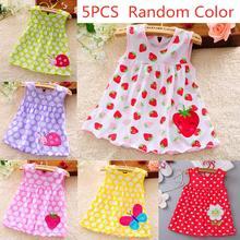 все цены на 5 Pcs Kids Girls Soft Cotton Princess Dress Lovely Vest Printing Dress Random Color онлайн