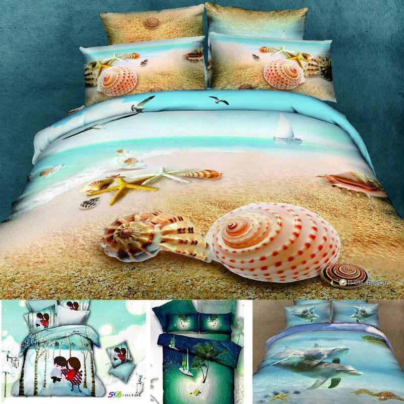 Queen Beach Theme Bedding 3d Bedding Set Beach Duvet Cover