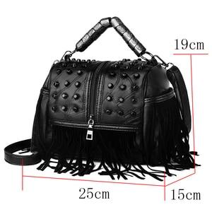 Image 2 - High Quality Womens Genuine Leather Handbags Patchwork Shoulder Bags Female Fashion Tassel Soft Tote Retro Women Crossbody Bag