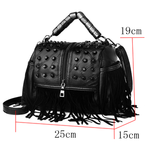 Image 2 - Hohe Qualität frauen Aus Echtem Leder Handtaschen Patchwork Schulter Taschen Weibliche Mode Quaste Weichen Trage Retro Frauen Umhängetasche