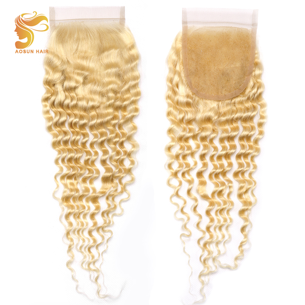 AOSUN HAIR New Arrival 1Pcs Malaysian Human Hair Deep Wave 613 Color Swiss Lace Closure Blonde Middle Part 4x4 Remy Hair Closure image