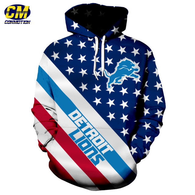 American flag printed cool 3D hooded sweatshirt NFL pullover Detroit  free shipping