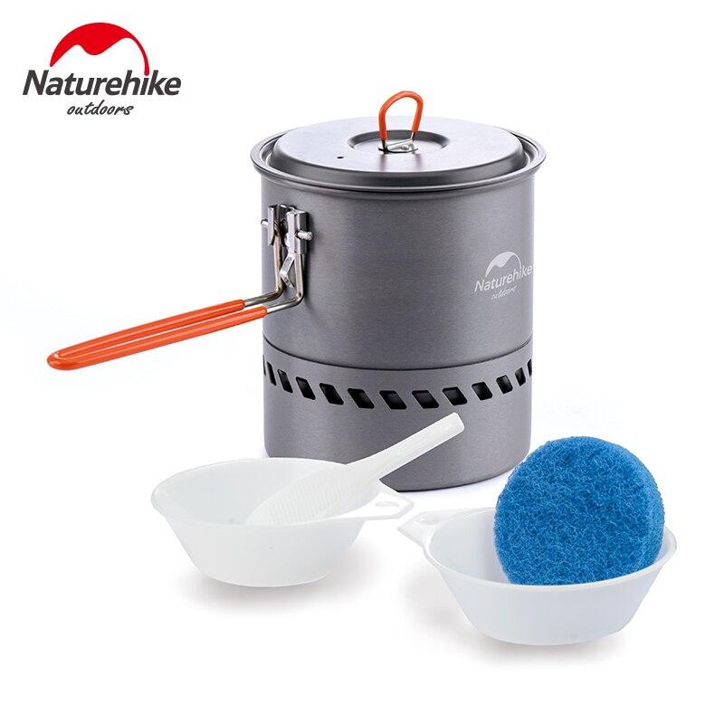 Naturetrekking 1.5L échangeur de chaleur bouilloire Camping pliant Pot à soupe pique-nique ustensiles de cuisine extérieur bol et cuillère NH15T216-G
