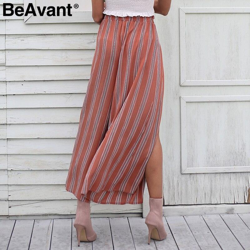 Iselinstorm Comprar Beavant Sexy Split Pantalon Ancho Pantalones Rayados Mujer Verano 2018 Alta Cintura Elastica Chic Beach Femme Online Baratos