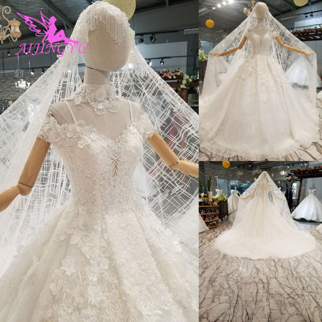 AIJINGYU Shiny Wedding Dresseses Real Photo Modest Bridals Indian Sexy Prijs Big Size Tuin Gown Trouwjurk Accessoires