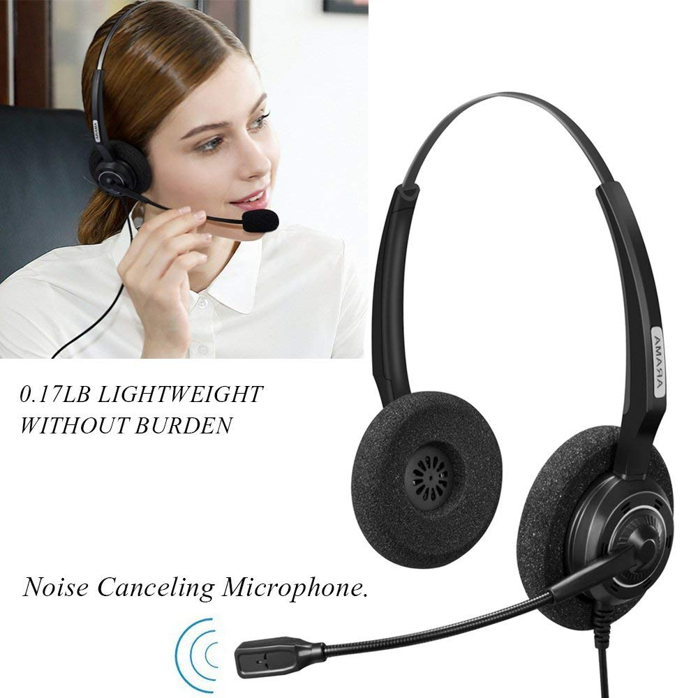 Wantek Arama Cordless Phone Headphones,2.5MM Telephone Headset with Noise Cancelling Boom Mic for Panasonic Dect Phones-Binaural 5