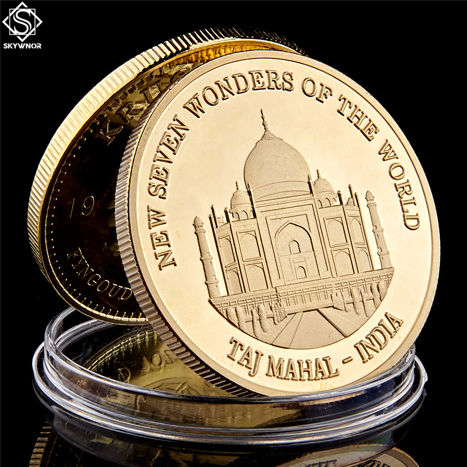 New Seven Wonders of The World India Taj Mahal Gold Plated Travel Souvenir Coin