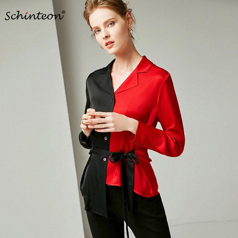 2019 Schinteon urząd Lady bluzka kobiety Patchwork skręcić w dół kołnierz prawdziwe jedwabiu szczupła luksusowe koszula New Arrival moda w Bluzki i koszule od Odzież damska na  Grupa 1