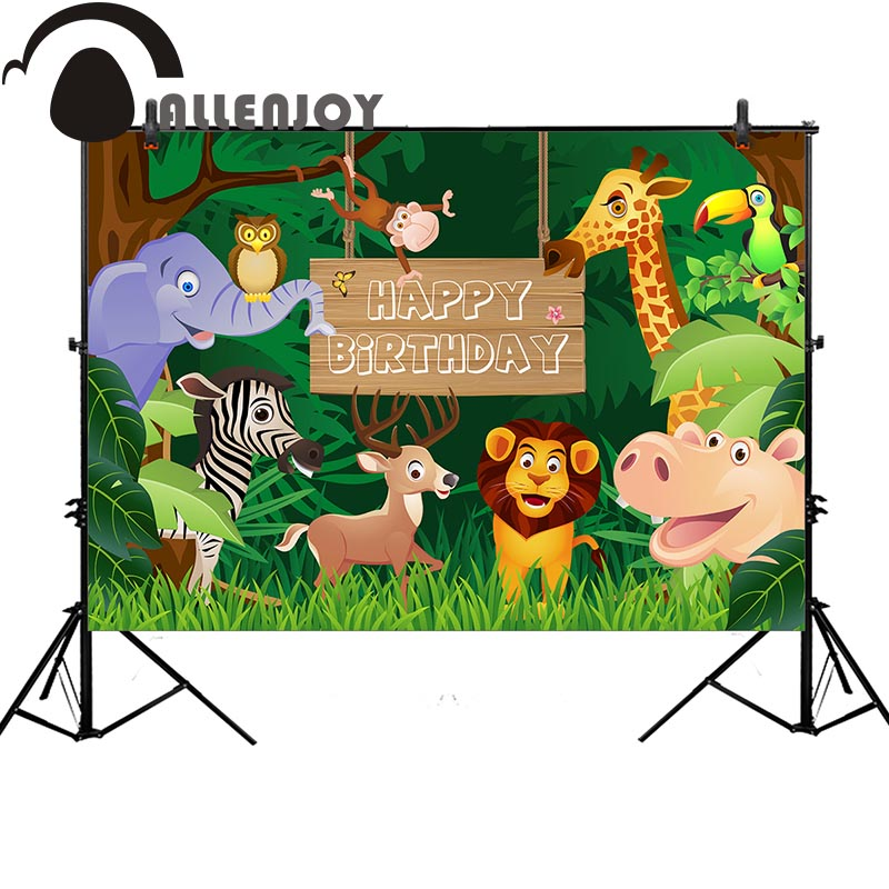 Allenjoy photography backdrop animal forest cartoon birthday monkey background original design photo studio newborn allenjoy backdrop spring background green grass light bokeh dots photocall kids baby for photo studio