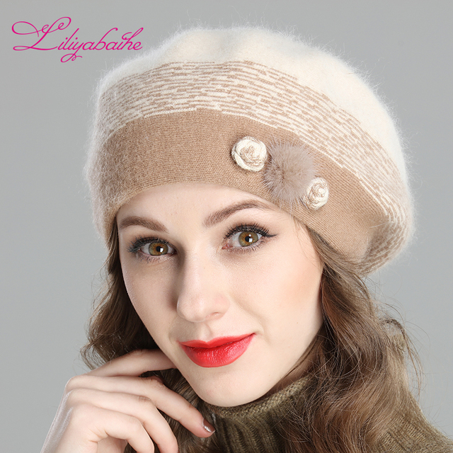 Liliyabaihe สไตล์ใหม่ผู้หญิงฤดูหนาว Berets Angora ถัก Beret ตกแต่ง Handmade Melange ถักหมวกคู่หมวก