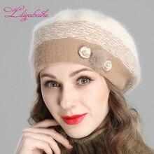 Liliyabaihe New Style Womens Winter Berets Angora Knitted Wool Beret Decorations Handmade Melange Knit Hat Double Warm Hat