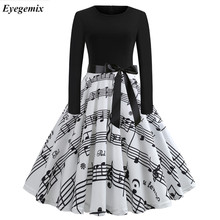 US $3.62 31% OFF|2019 Music Note Print Elegant Party Dresses Women 50s 60s Retro Vintage Robe Rockabilly Dress Plus Size Casual Winter Midi Dress-in Dresses from Women's Clothing on Aliexpress.com | Alibaba Group