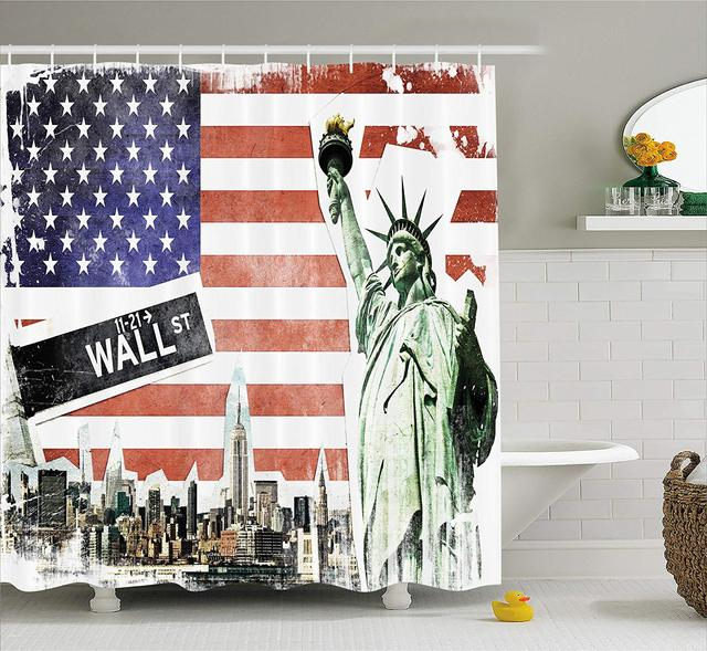 American Flag Shower Curtain NYC Collage With Famous Monuments Wall Street And Manhattan Urban Display Fabric Bathroom Decor