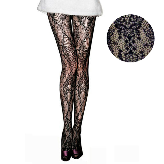 7632b0eb7a3a7c LIMSISNIW Retro Styling Fashion Individual Florals Pattern Women Sexy  Fishnet Tights Black Color Ladies Vintage Flower Pantyhose