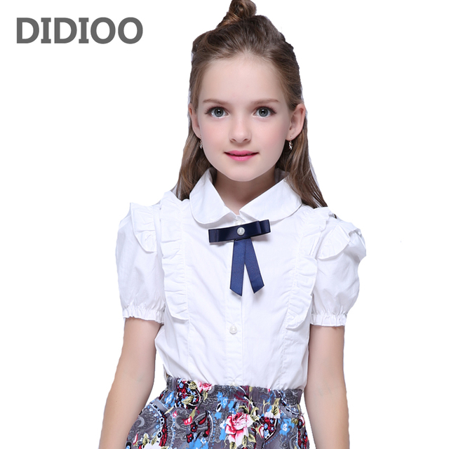e76fb105af8 Summer Girls Blouse Kids Baby Girl Clothes Cotton Tops Lace School White  Blouses For Girls Short Shirts Children Clothing