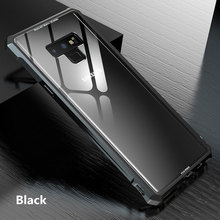 9H Hard Transparent Tempered Glass Case For Samsung Galaxy Note 9 Case Cover Luxury Aluminum Metal Frame Bumper Coque Capa Note9 protective plastic bumper frame for samsung galaxy note 3 pink transparent
