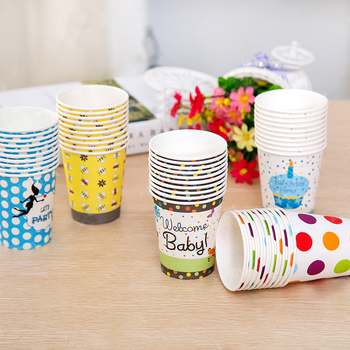Muticolor Disposable Paper Cup Tableware Cartoon Theme Party Cups Birthday Party Decoration Supplies   Birthday Halloween
