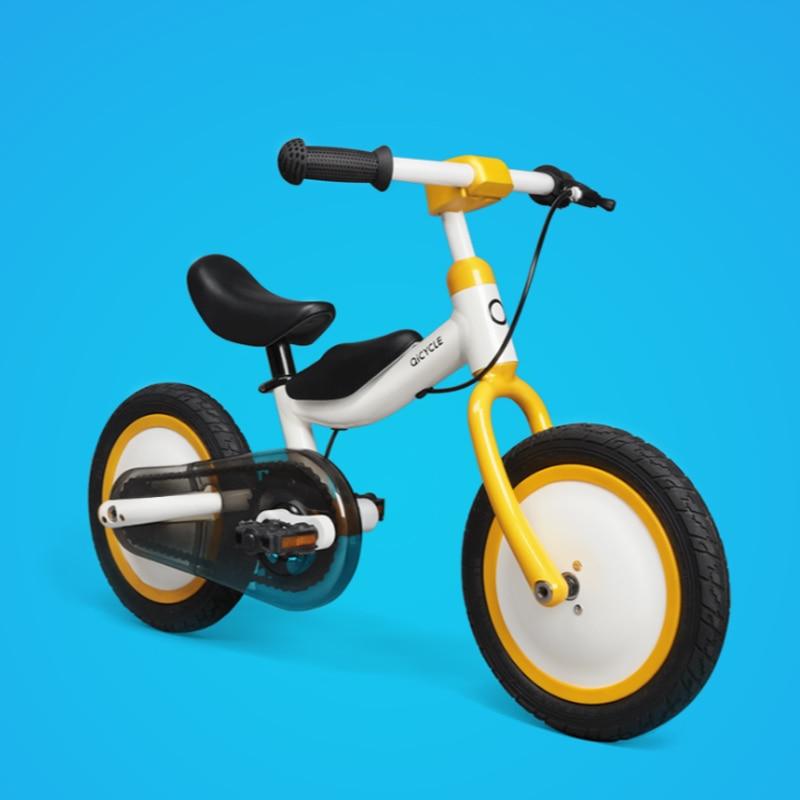 En Stock Xiaomi MiJia QiCycle Vélo Tricycle Scooter 12 Pouce pour Enfants Jaune Couleur Slide & vélo À Double Usage