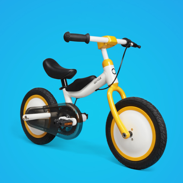 In Stock Xiaomi MiJia QiCycle Bike Tricycle Scooter 12 Inch for Children Yellow Color Slide&bicycle Dual Use