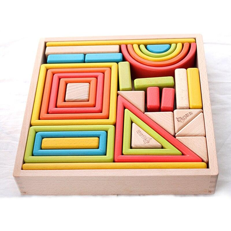 Arc-en-ciel en bois gros blocs jouets colorés enfance accompagner adultes et enfants jouer ensemble développement éducatif bricolage jouet