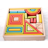 Rainbow Wooden Big Blocks Colorful Toys Childhood Accompany Adults and Children Play Together Developmental Educational DIY Toy